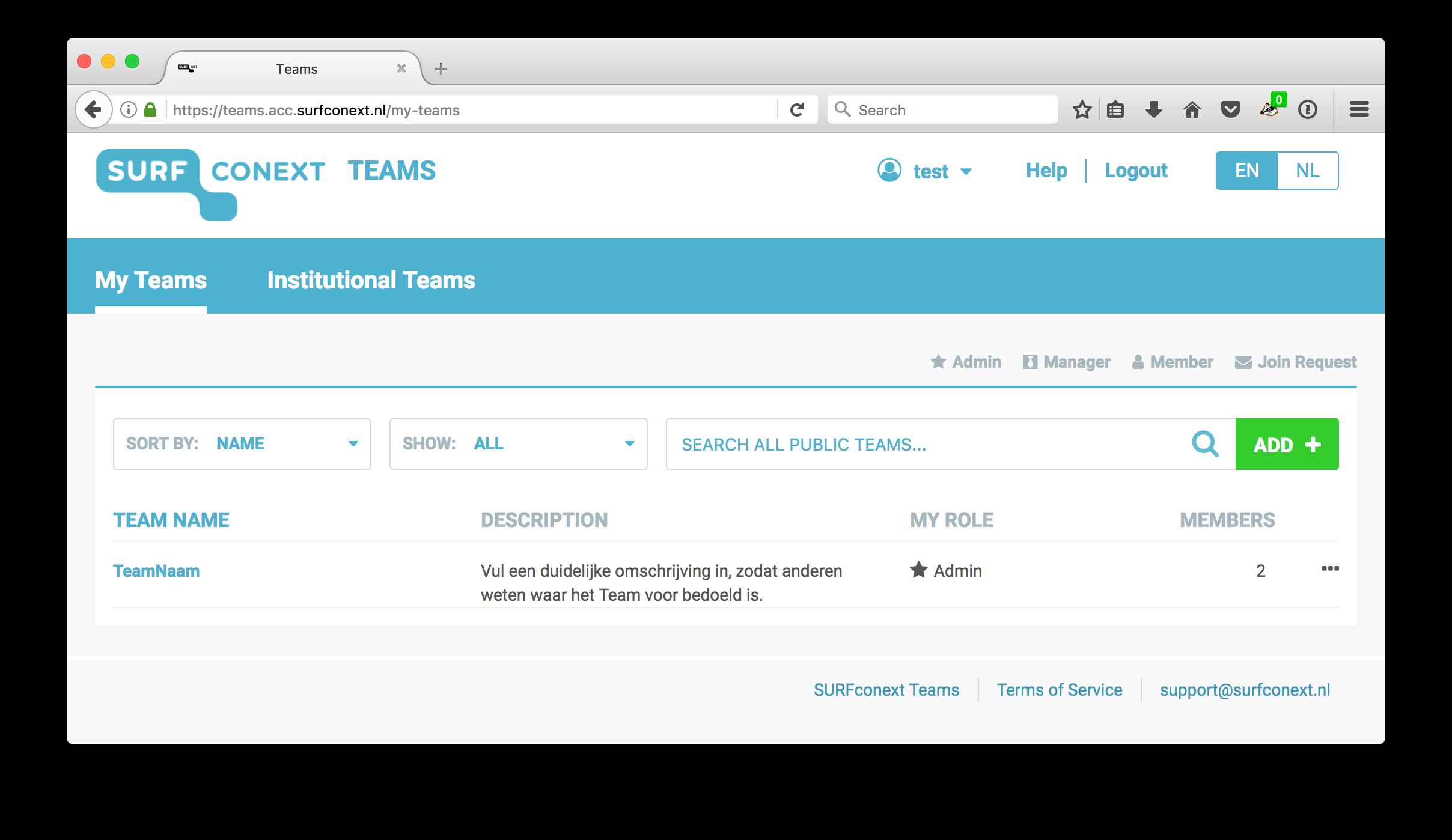 SURFconext Teams (EN) - SURFconext - Support - Collaboration